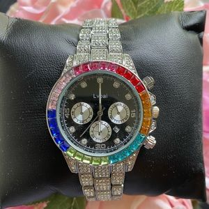 Luxury Watch Men bling Silver Big Dial  Wristwatch